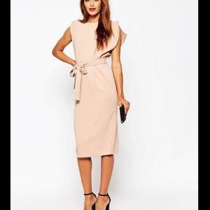 ASOS Belted Midi Dress with Split Cap Sleeve!